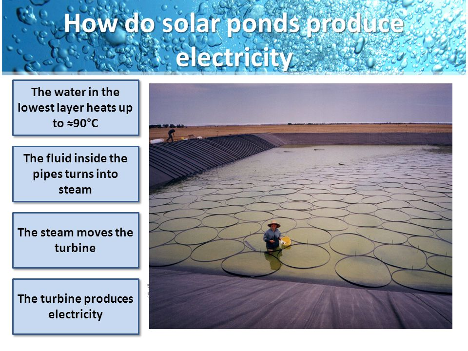 How do solar ponds produce electricity