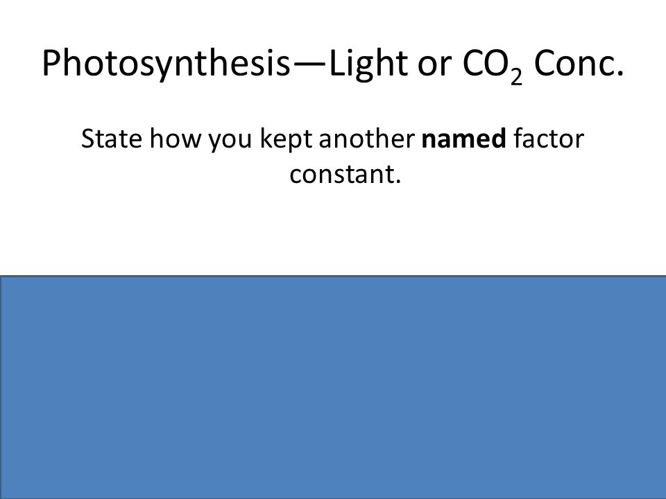 Photosynthesis—Light or CO2 Conc.