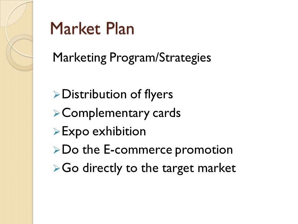Market Plan Marketing Program/Strategies Distribution of flyers