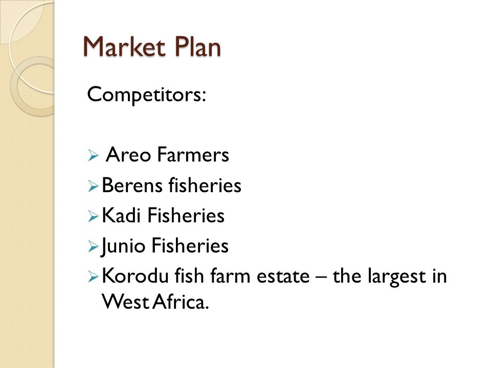 Market Plan Competitors: Areo Farmers Berens fisheries Kadi Fisheries