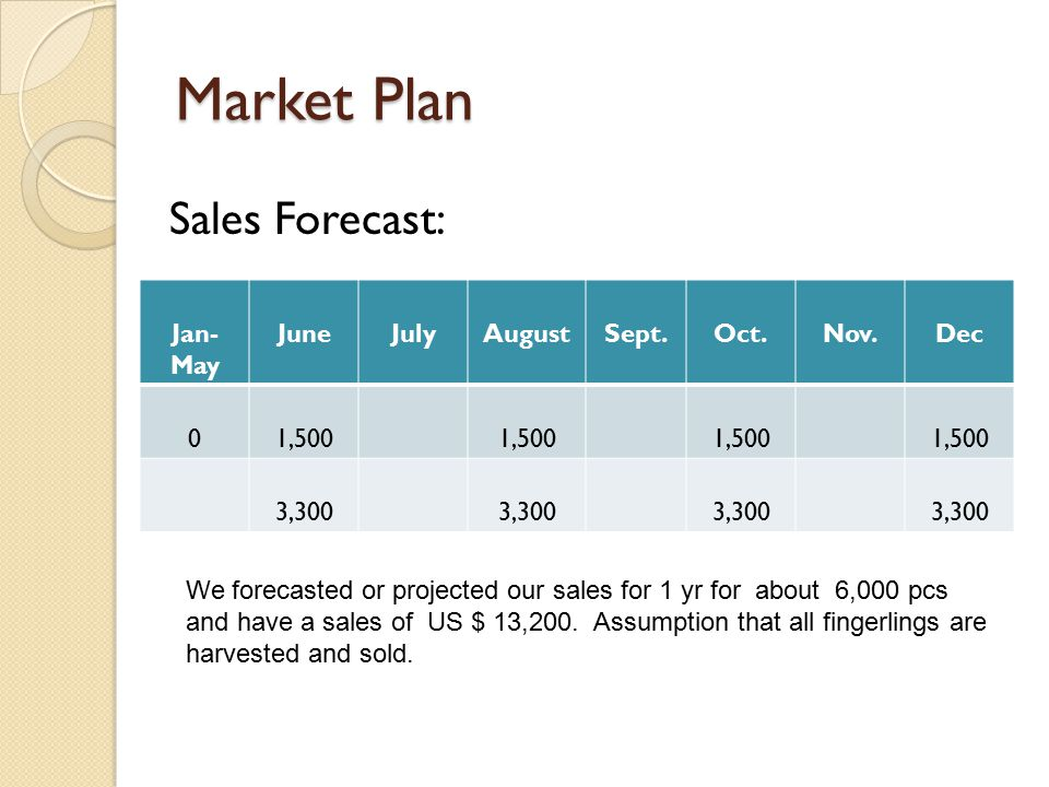 Market Plan Sales Forecast: Jan-May June July August Sept. Oct. Nov.
