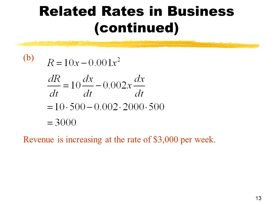 Related Rates in Business (continued)