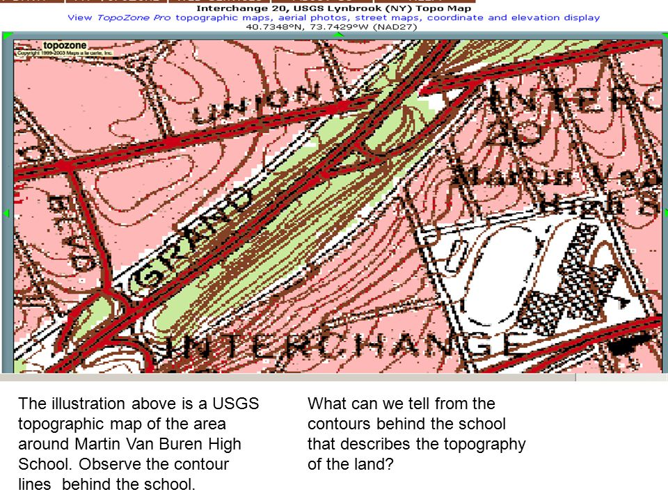 The illustration above is a USGS topographic map of the area around Martin Van Buren High School. Observe the contour lines behind the school.