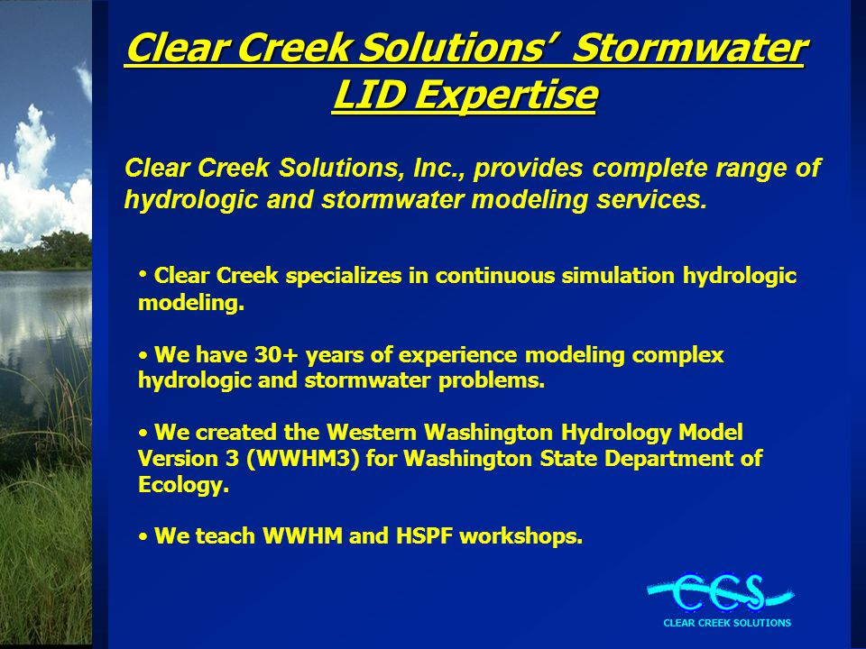 Clear Creek Solutions' Stormwater LID Expertise