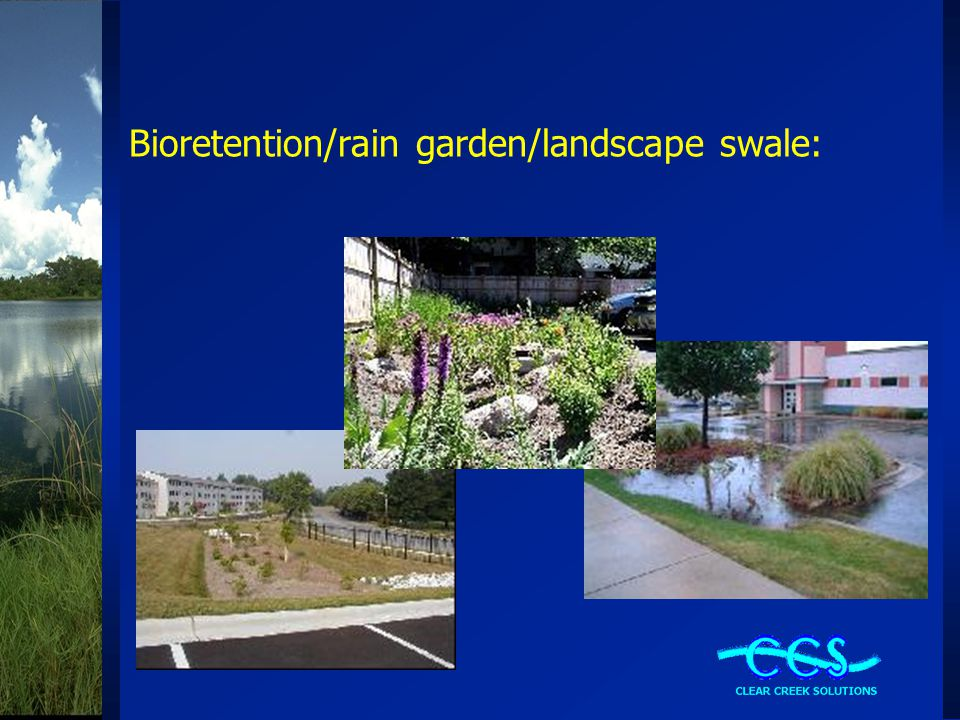 Bioretention/rain garden/landscape swale: