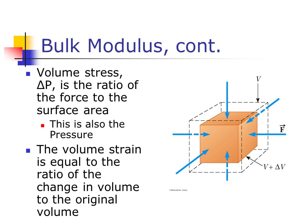 Bulk Modulus, cont. Volume stress, ΔP, is the ratio of the force to the surface area. This is also the Pressure.
