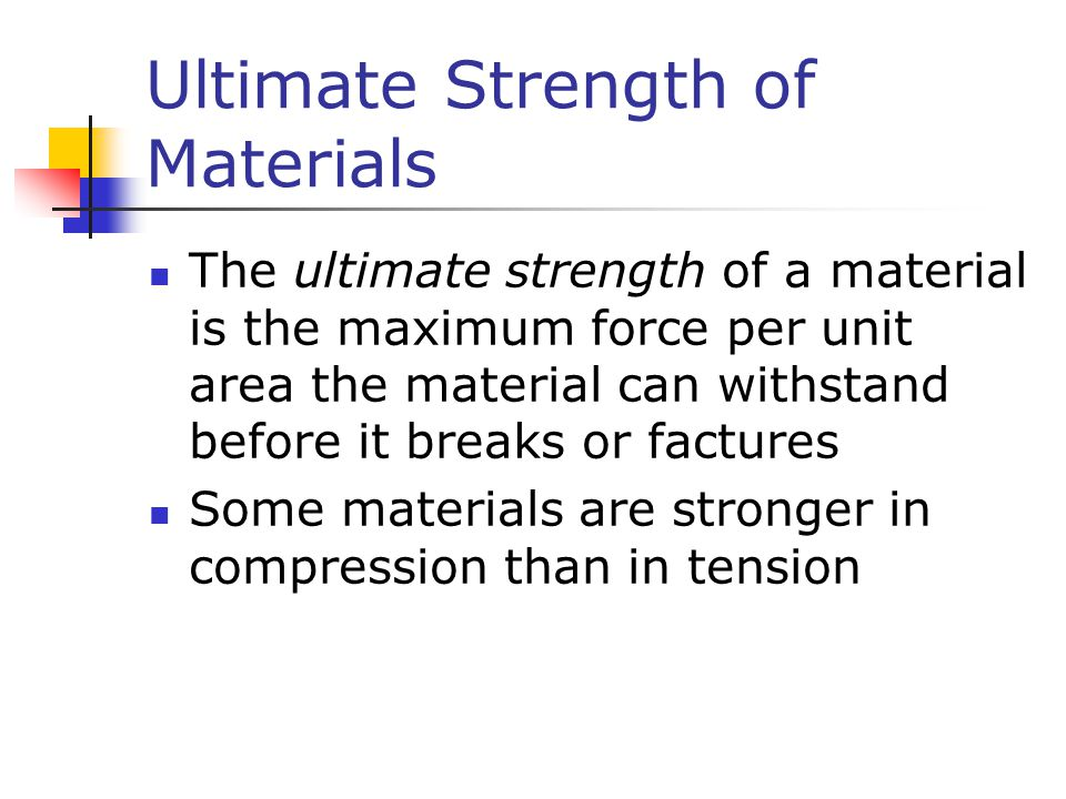 Ultimate Strength of Materials