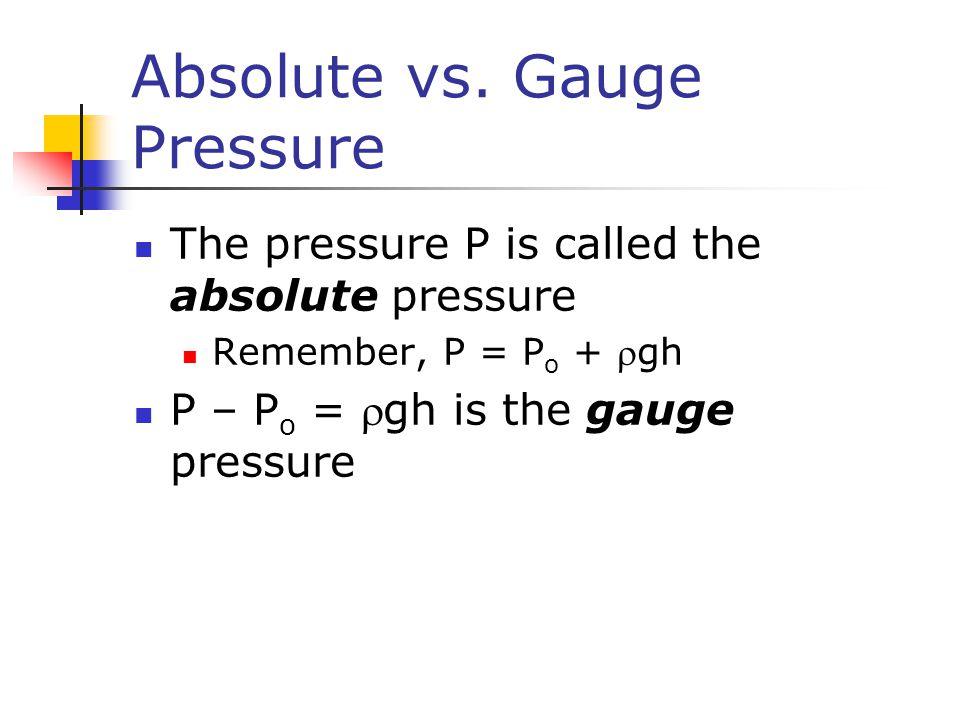 Absolute vs. Gauge Pressure