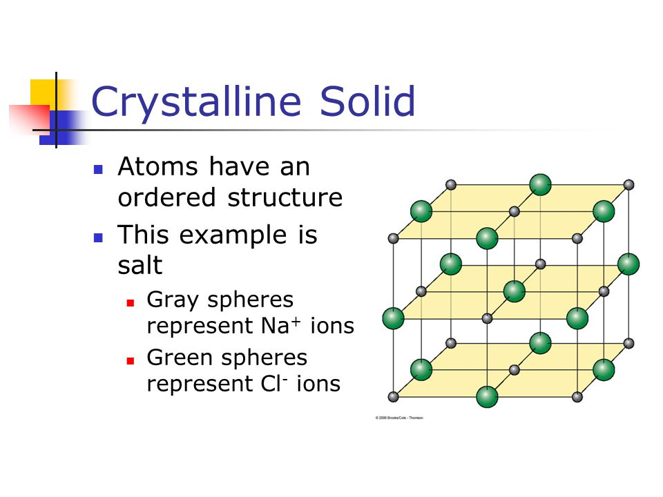 Crystalline Solid Atoms have an ordered structure This example is salt