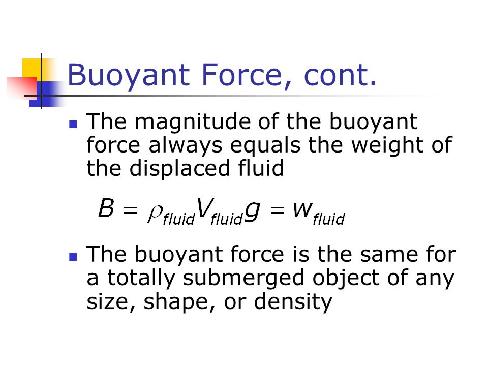 Buoyant Force, cont. The magnitude of the buoyant force always equals the weight of the displaced fluid.