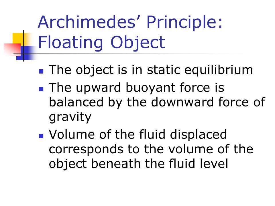 Archimedes' Principle: Floating Object
