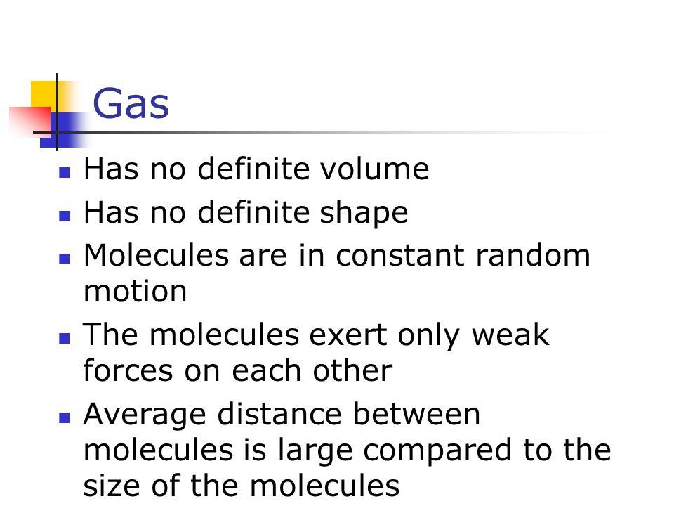 Gas Has no definite volume Has no definite shape
