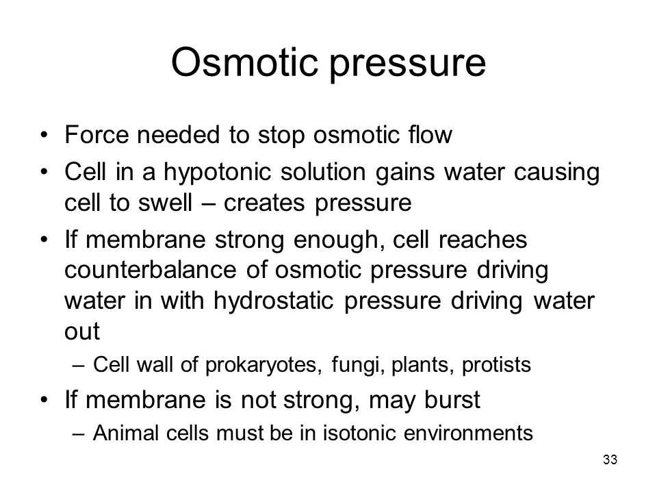 Osmotic pressure Force needed to stop osmotic flow