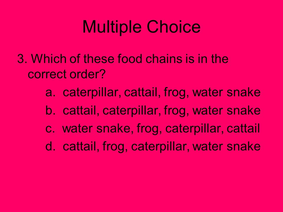 Multiple Choice 3. Which of these food chains is in the correct order