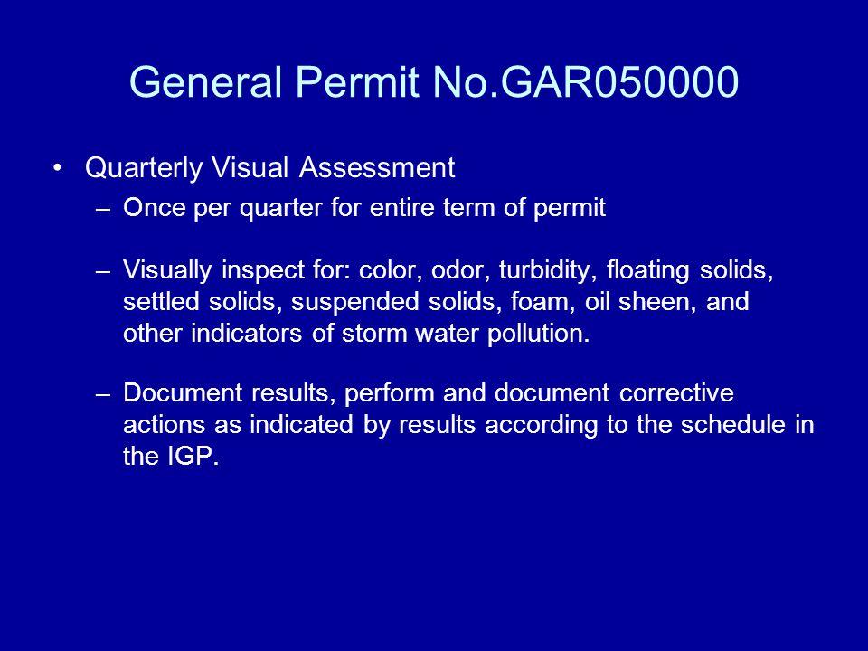 General Permit No.GAR050000 Quarterly Visual Assessment