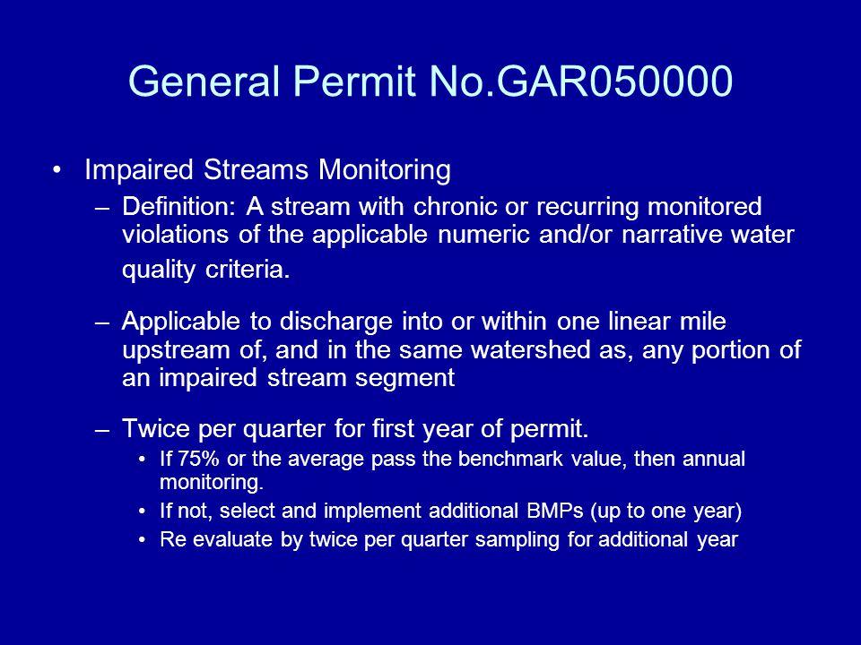 General Permit No.GAR050000 Impaired Streams Monitoring