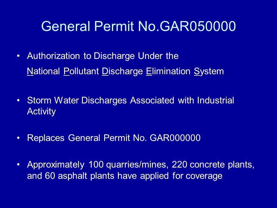 General Permit No.GAR050000 Authorization to Discharge Under the