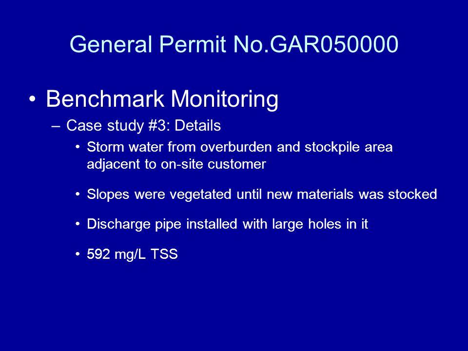 General Permit No.GAR050000 Benchmark Monitoring