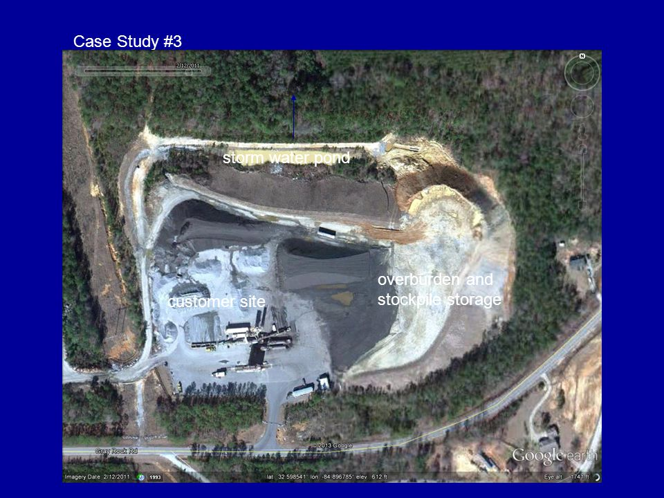 Case Study #3 storm water pond. creek. road. overburden and stockpile storage. catch basins / filter berms.