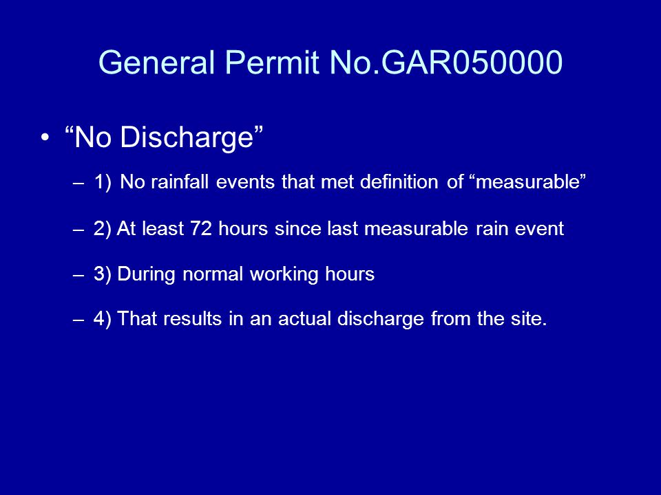 General Permit No.GAR050000 No Discharge
