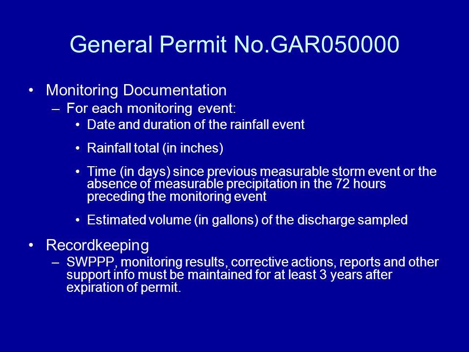 General Permit No.GAR050000 Monitoring Documentation Recordkeeping