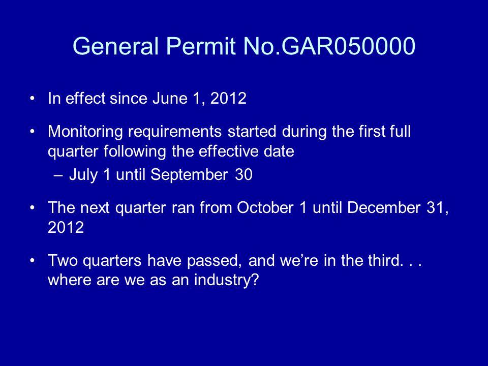 General Permit No.GAR050000 In effect since June 1, 2012