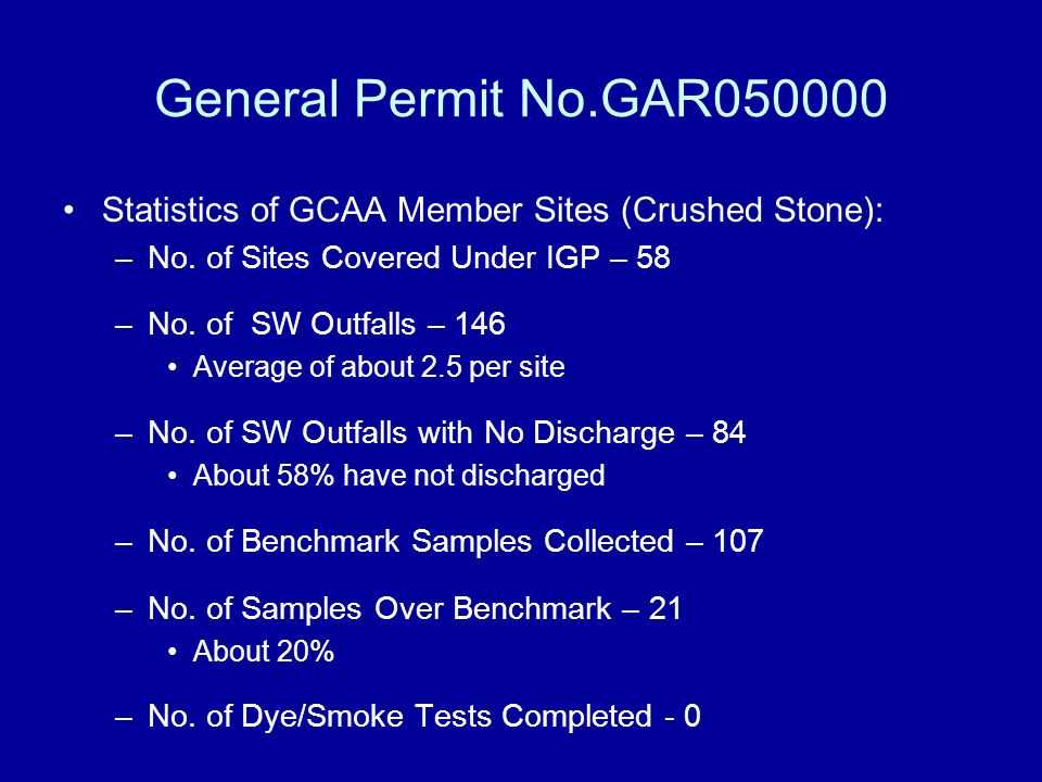 General Permit No.GAR050000 Statistics of GCAA Member Sites (Crushed Stone): No. of Sites Covered Under IGP – 58.