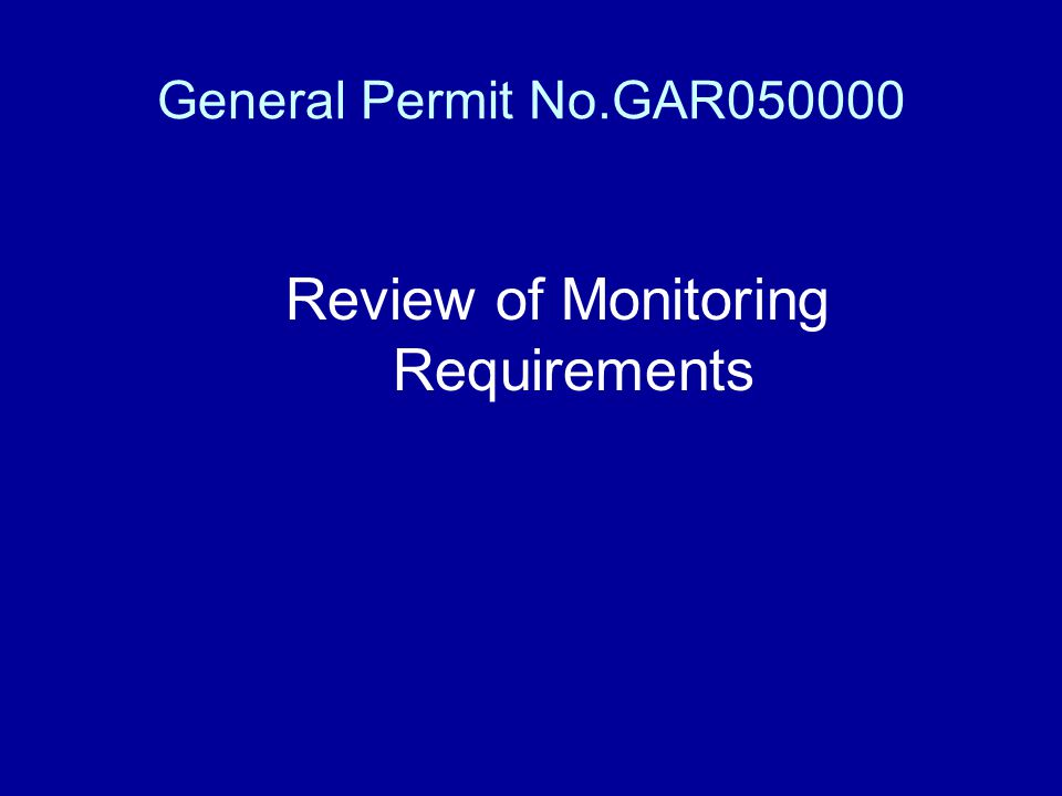 Review of Monitoring Requirements
