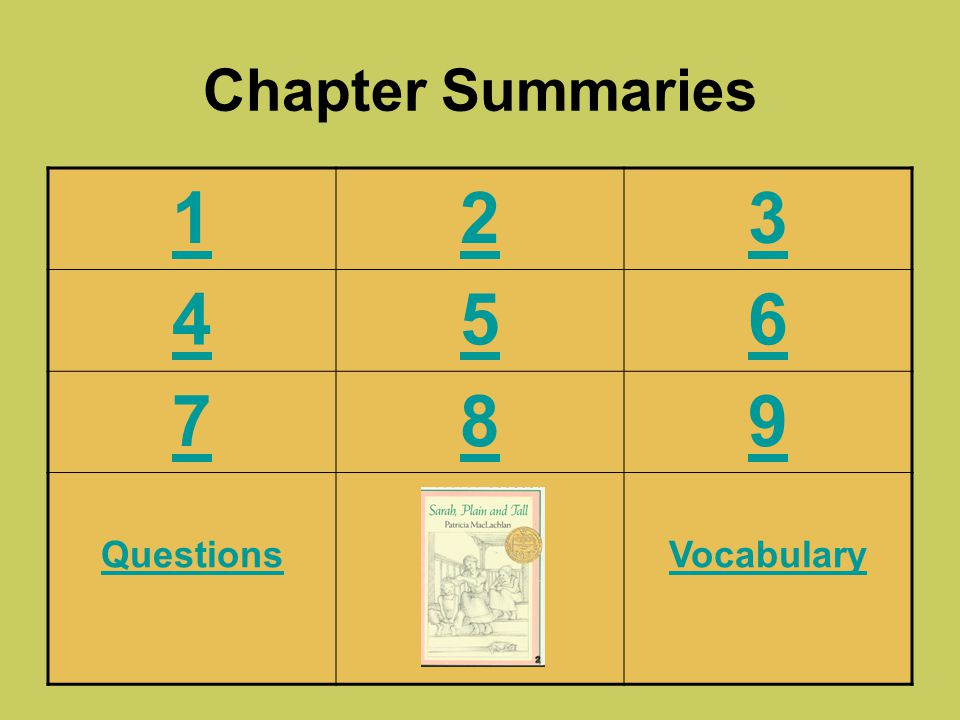Chapter Summaries 1 2 3 4 5 6 7 8 9 Questions Vocabulary
