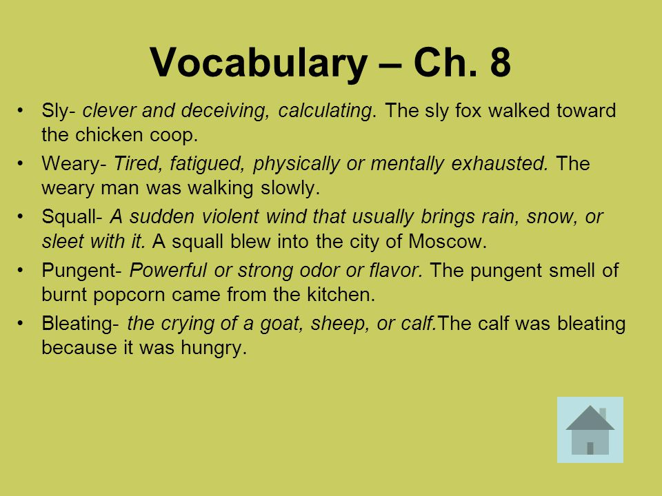 Vocabulary – Ch. 8 Sly- clever and deceiving, calculating. The sly fox walked toward the chicken coop.