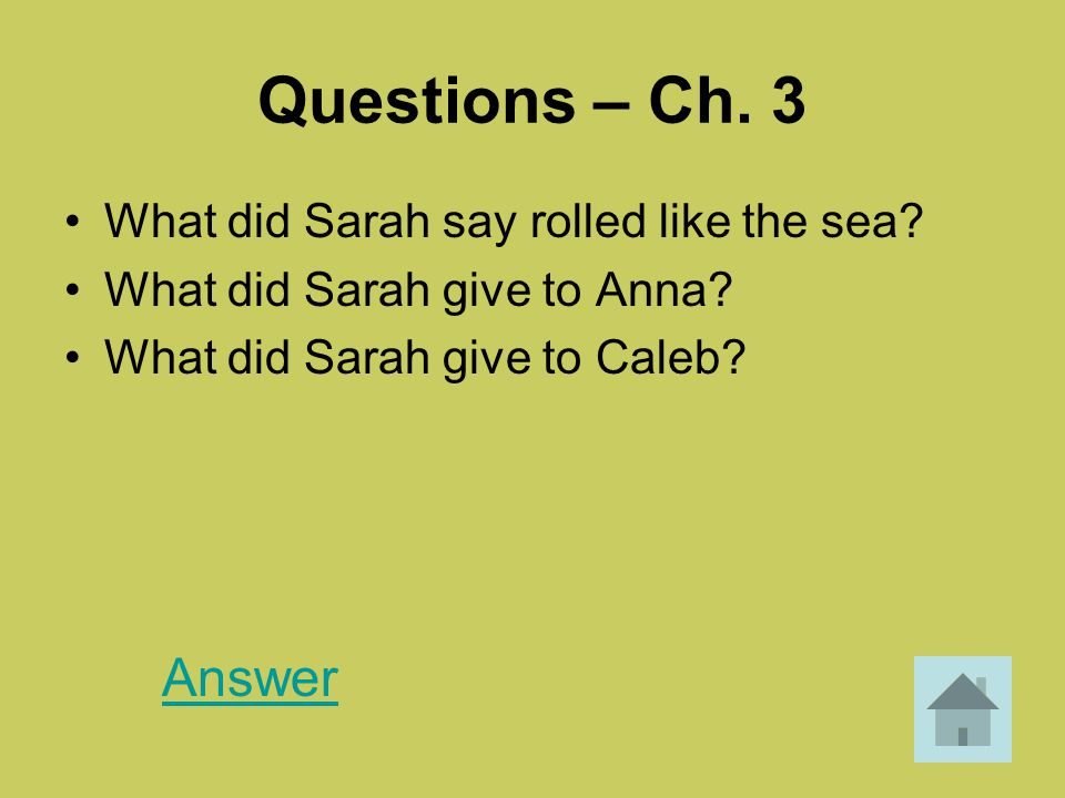 Questions – Ch. 3 Answer What did Sarah say rolled like the sea