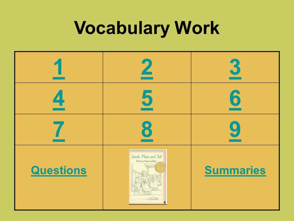 Vocabulary Work 1 2 3 4 5 6 7 8 9 Questions Summaries