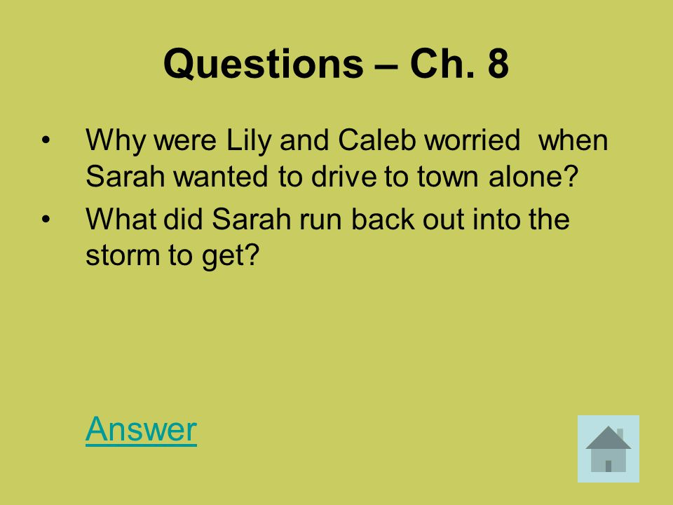 Questions – Ch. 8 Why were Lily and Caleb worried when Sarah wanted to drive to town alone What did Sarah run back out into the storm to get