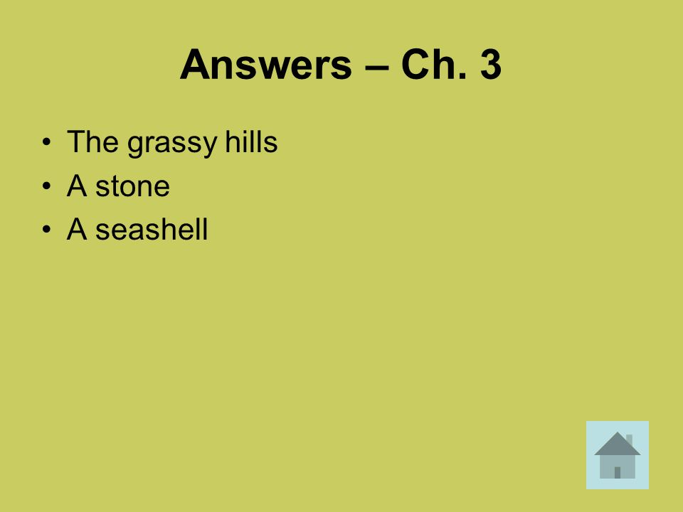 Answers – Ch. 3 The grassy hills A stone A seashell