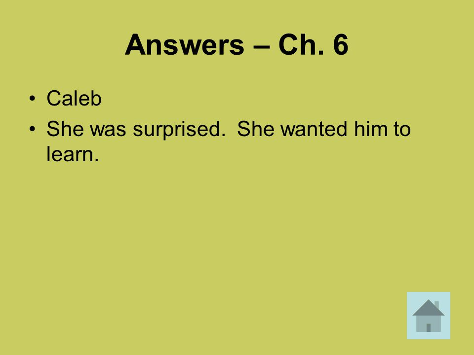 Answers – Ch. 6 Caleb She was surprised. She wanted him to learn.