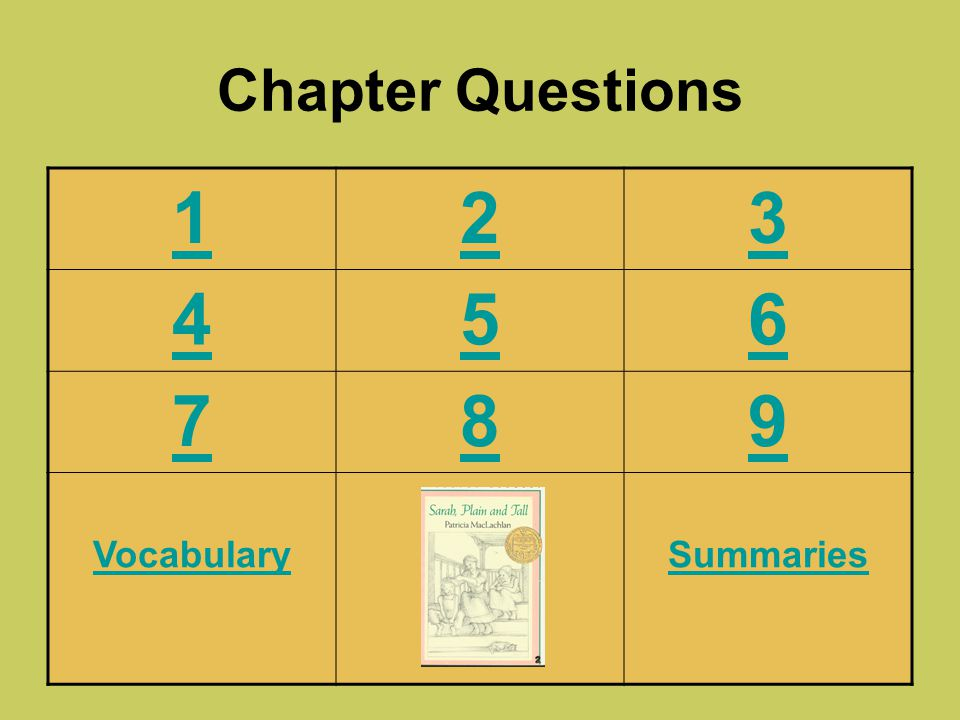 Chapter Questions 1 2 3 4 5 6 7 8 9 Vocabulary Summaries