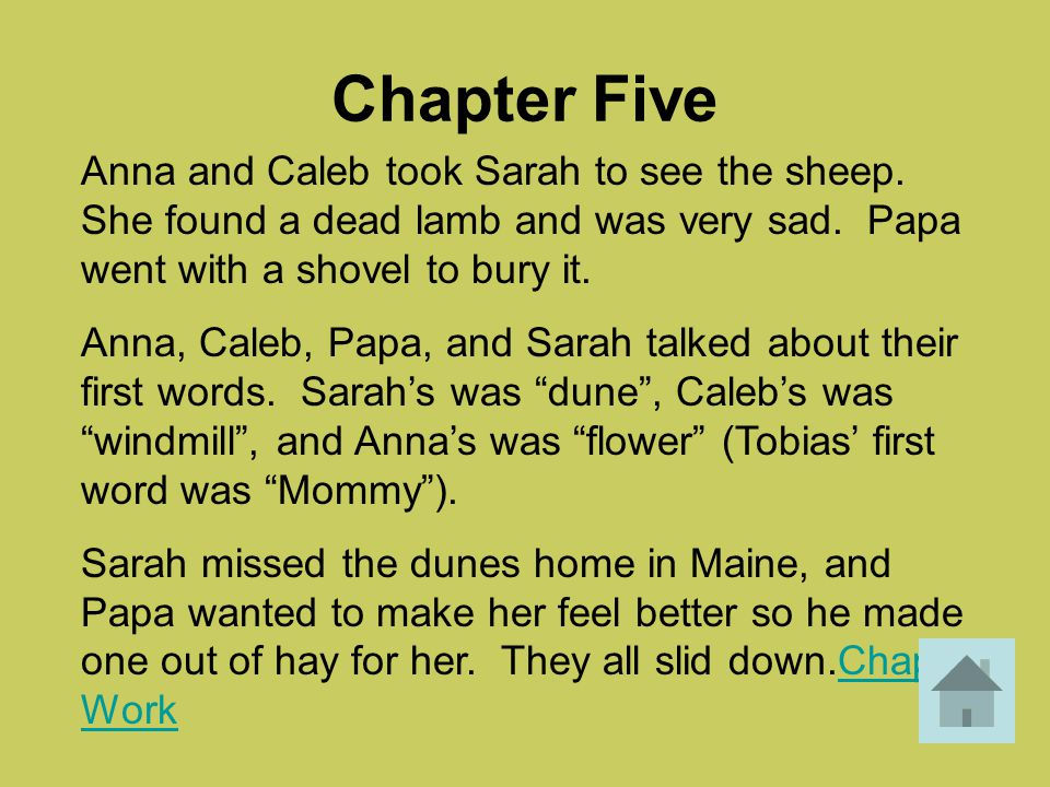 Chapter Five Anna and Caleb took Sarah to see the sheep. She found a dead lamb and was very sad. Papa went with a shovel to bury it.