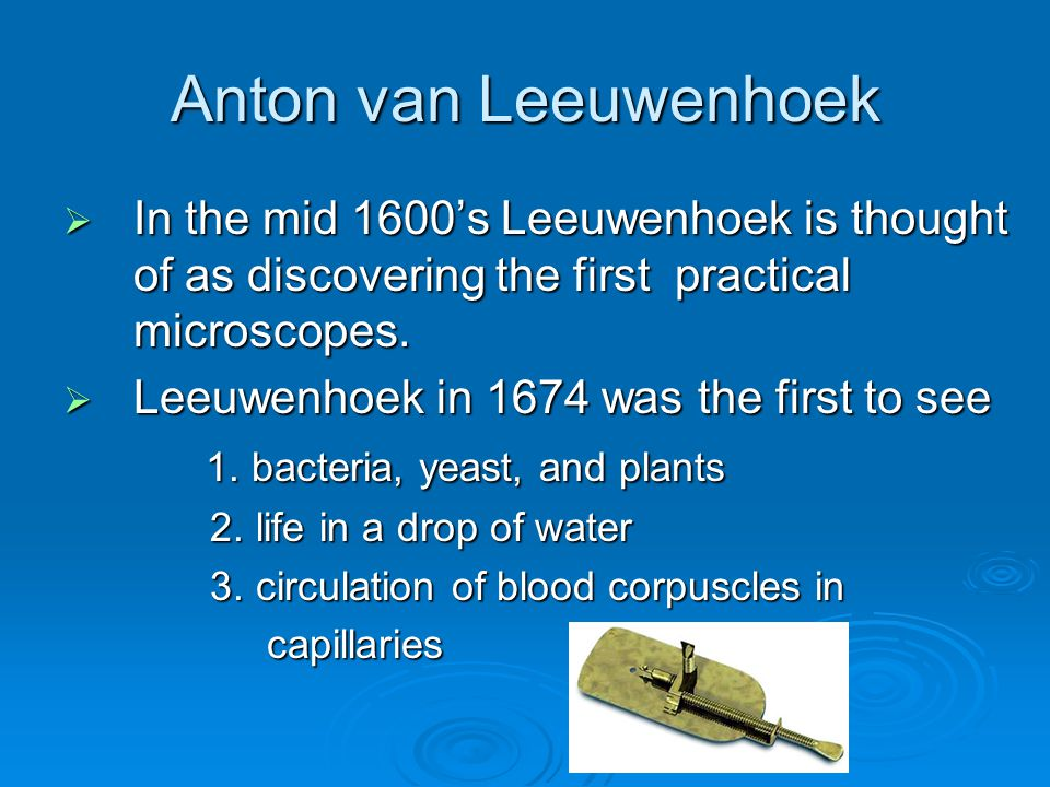 Anton van Leeuwenhoek In the mid 1600's Leeuwenhoek is thought of as discovering the first practical microscopes.