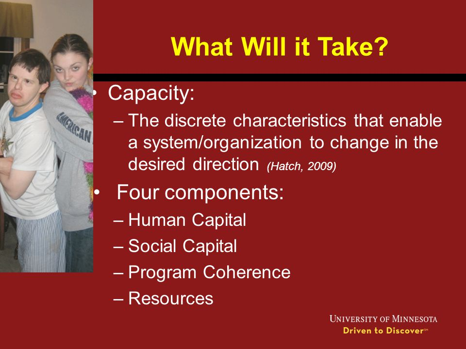 What Will it Take Capacity: Four components: