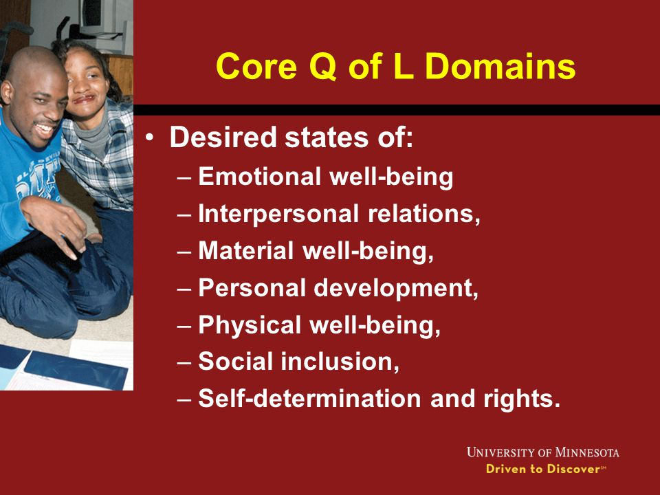 Core Q of L Domains Desired states of: Emotional well-being