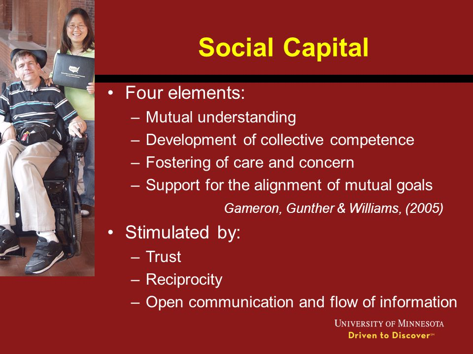 Social Capital Four elements: Stimulated by: Mutual understanding