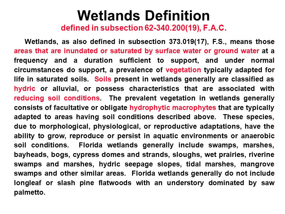 Wetlands Definition defined in subsection 62-340.200(19), F.A.C.