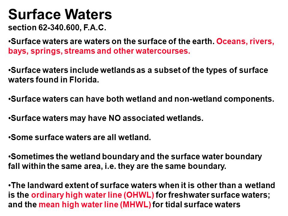 Surface Waters section 62-340.600, F.A.C.