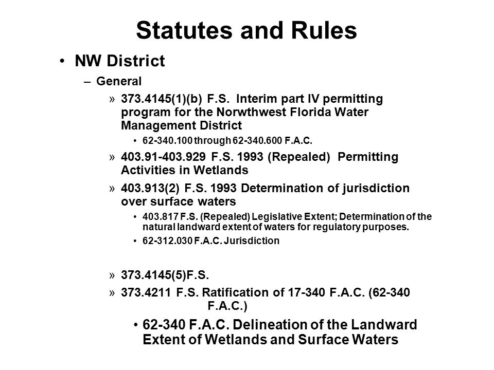 Statutes and Rules NW District