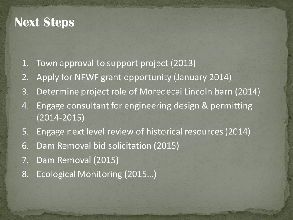 Next Steps Town approval to support project (2013)
