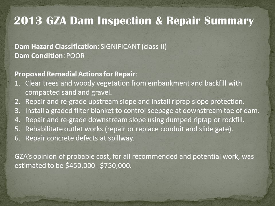 2013 GZA Dam Inspection & Repair Summary