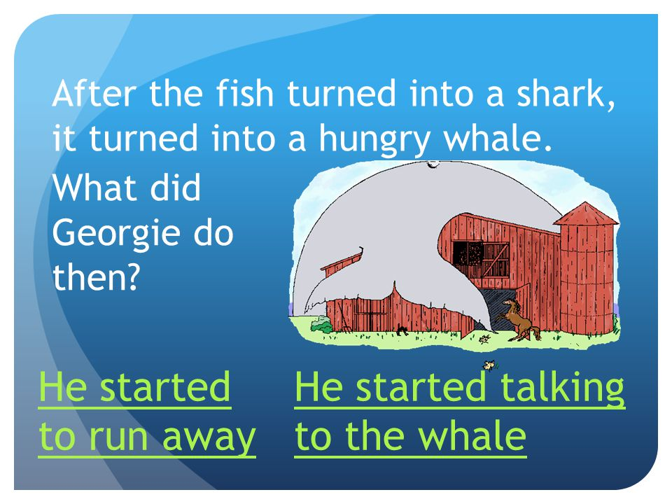 After the fish turned into a shark, it turned into a hungry whale.