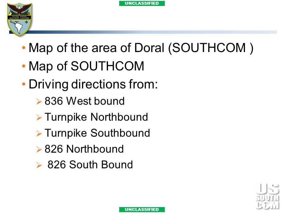 Map of the area of Doral (SOUTHCOM ) Map of SOUTHCOM
