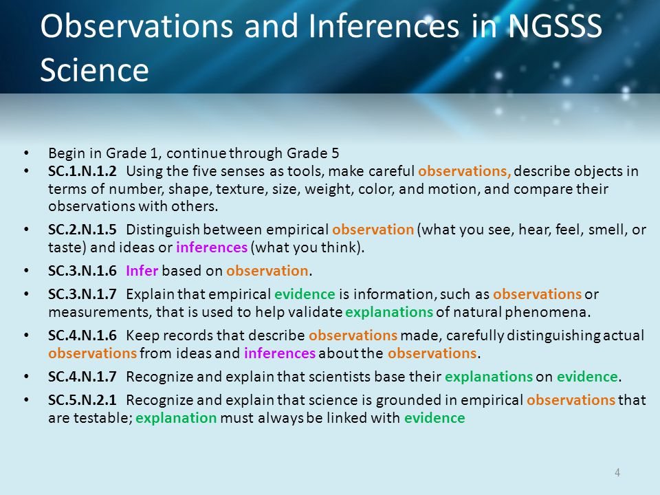 Observations and Inferences in NGSSS Science