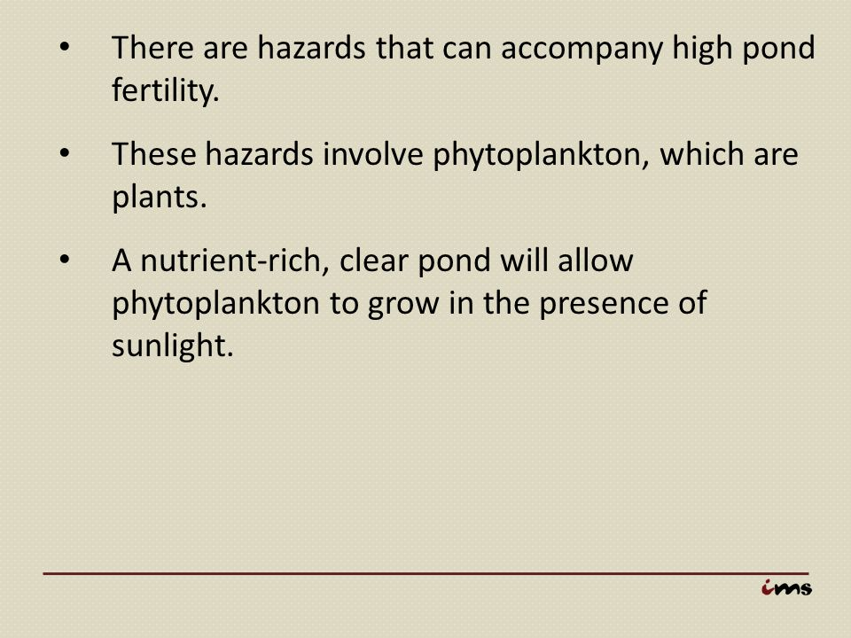There are hazards that can accompany high pond fertility.